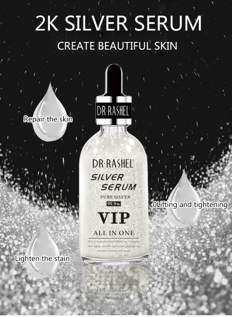 DR.RASHEL Smooth Tight Pore Brightening Anti Wrinkle Ampoule Hyaluronic Acid Essence Makeup Primer Silver Whitening Serum