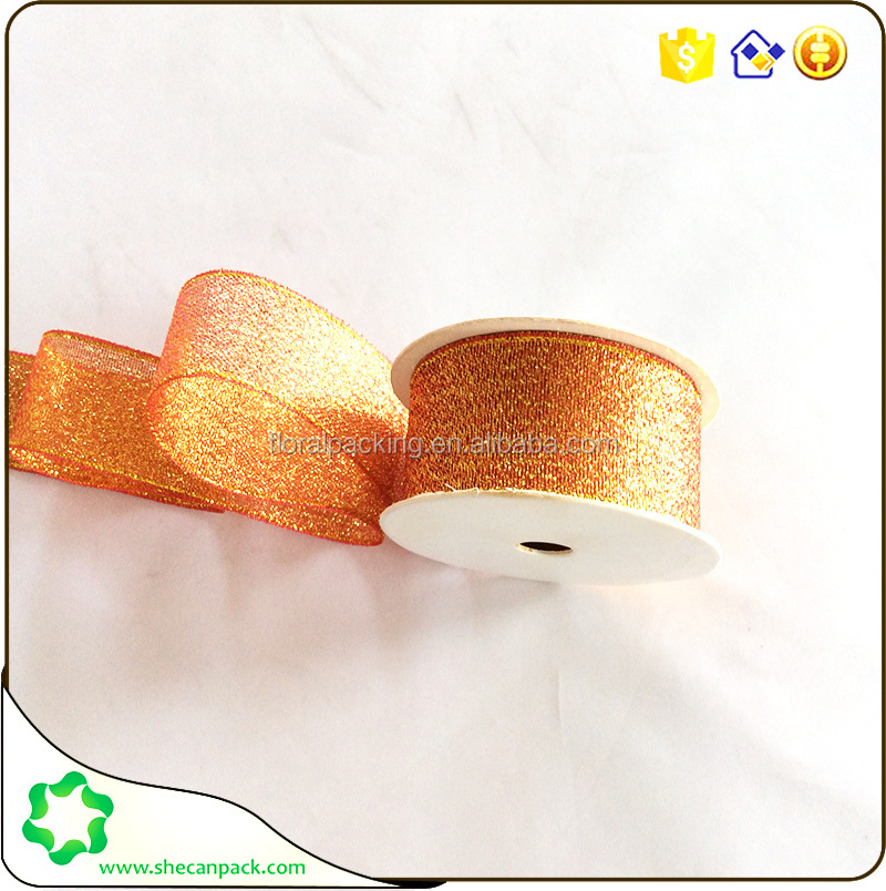 SHECAN Christmas red Glitter champagne color ribbon for decorative bows. party