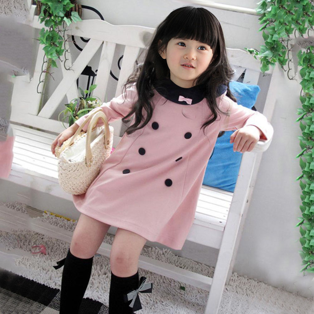 3d88c1674d7ac Girls Kids Apparel Dress Top Dresses Long Sleeve 2 7 Y Baby Party 1 Piece  Clothes