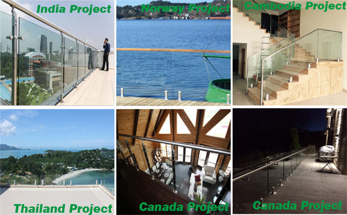 Frameless fixed point glass balustrades spigots and glass holders