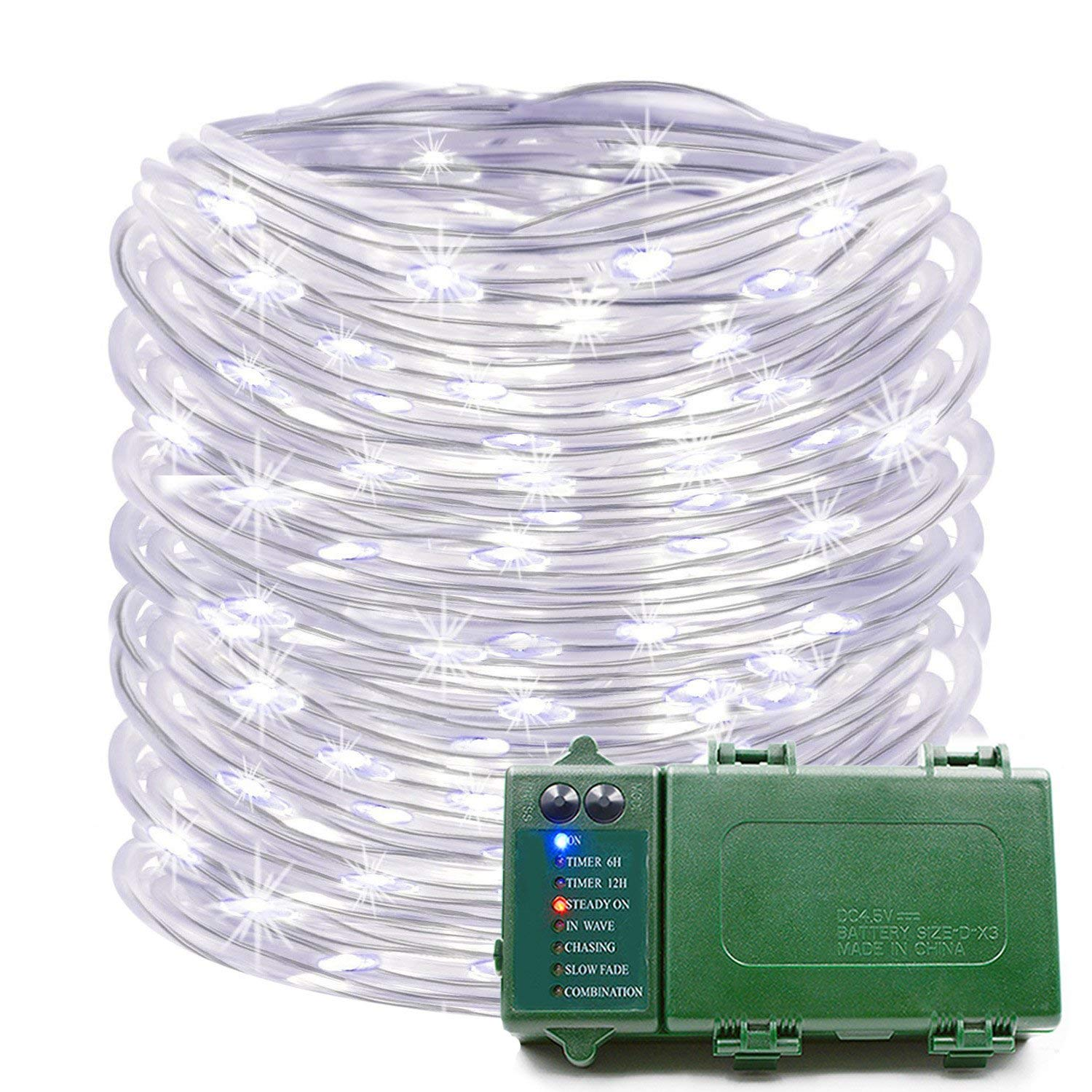 Cheap Garden Lights Battery Powered Find Electrical Wiring Outside Get Quotations Konnoo Rope 39 Ft 120 Led Operated String Waterproof Christmas Decorative Fairy