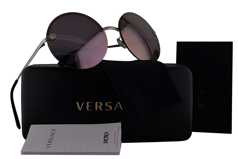 14fae00404 Get Quotations · Versace VE2176 Sunglasses Silver w Violet Gray Mirror Lens  10005R VE 2176