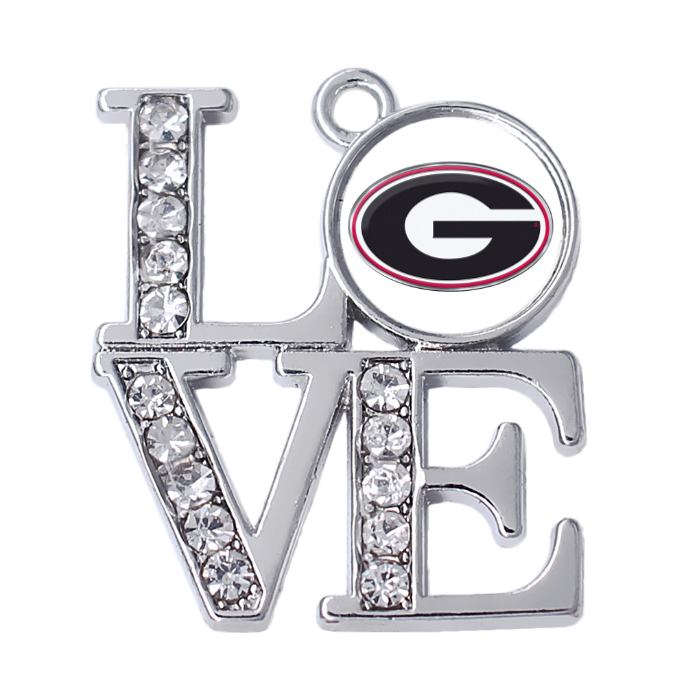 C11031739 University of Georgia UGA DOGS NCAA college football silver with crystal charm pendant jewelry