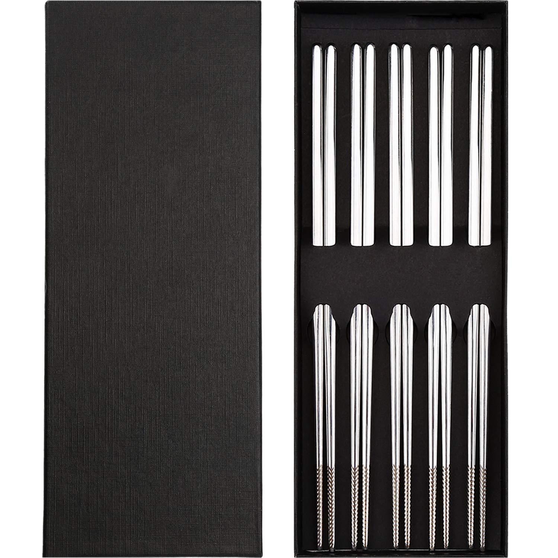 Jovitec 5 Pairs Metal Chopsticks Set Stainless Steel Non-Skid Chopsticks with Black Gift Box
