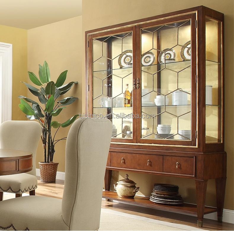 Classic Dining Room Furniture Solid Wood Glass Door Sideboard ...