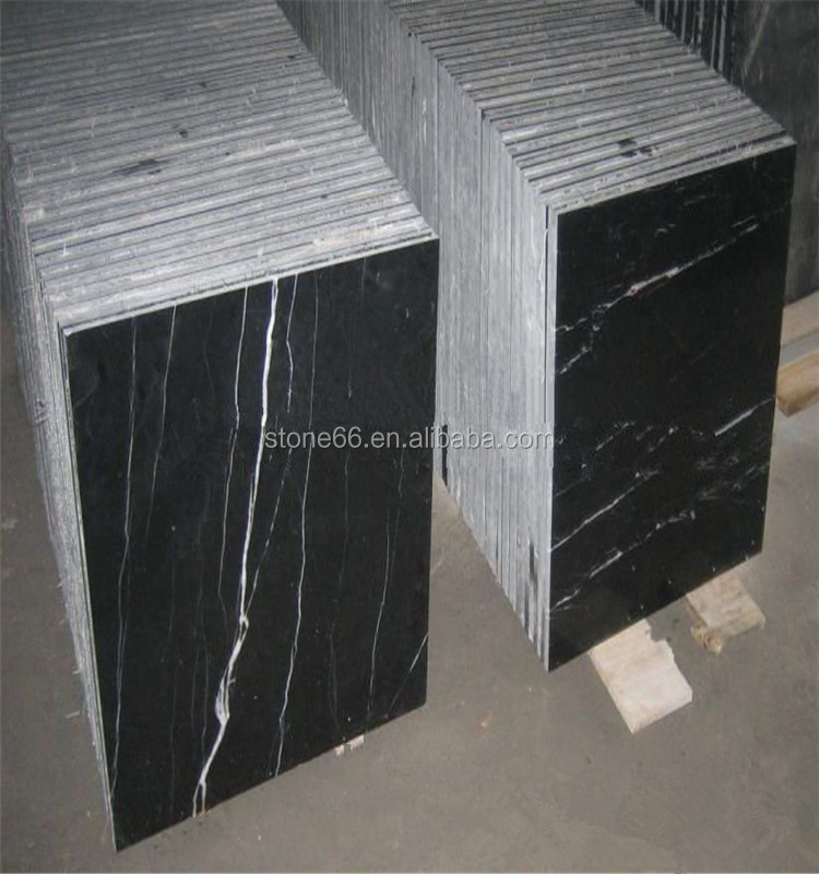 Black high gloss cheap artificial stone nero marquina bush hammered white marble