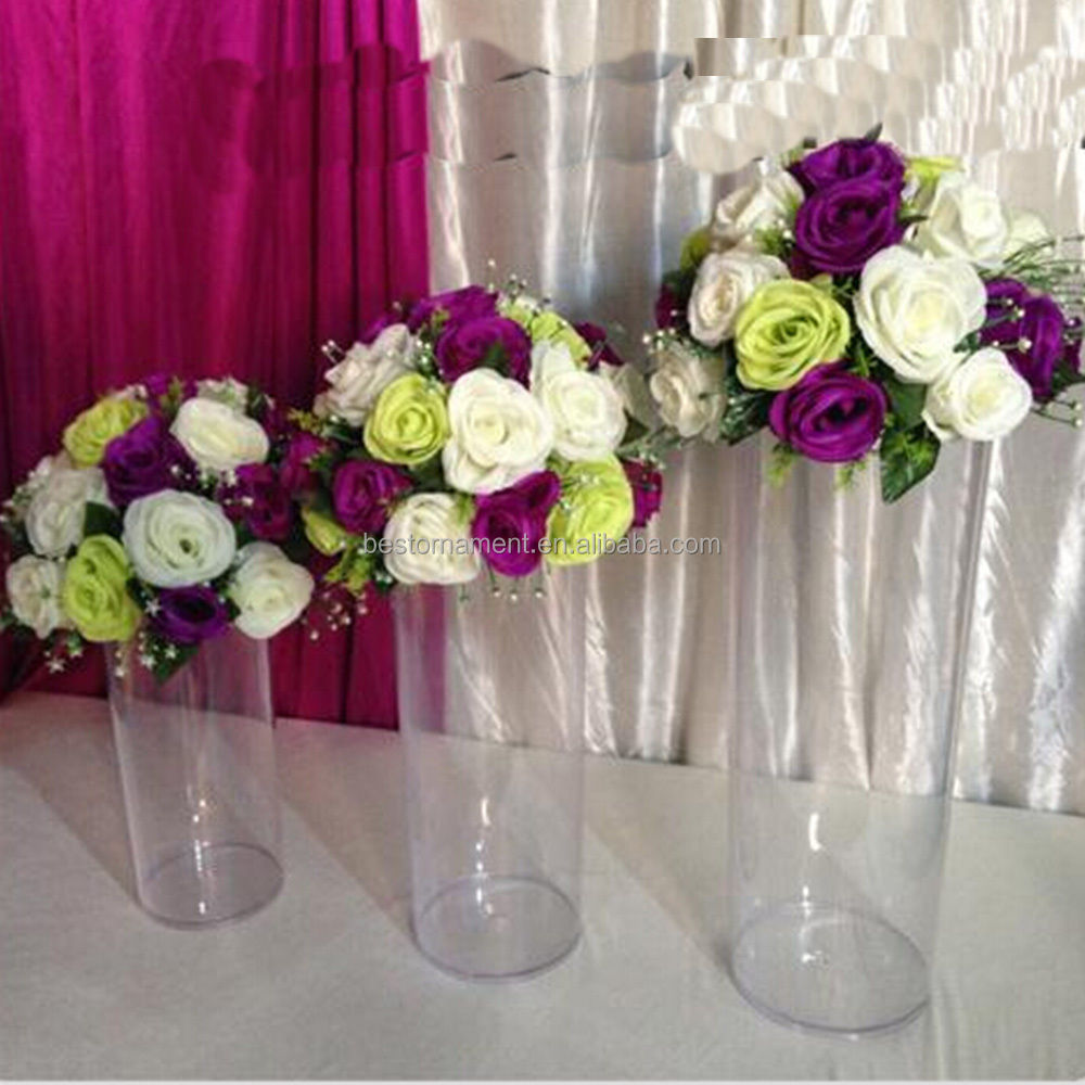 "20/""Acrylic Cylinder Vase Clear Round Plastic Wedding Table Flower Vase Road Lead"