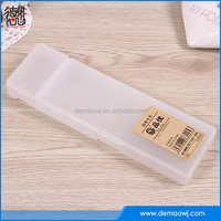 2016 Clear Transparent simple tow box hard plastic pencil case with cheap price for packing S025