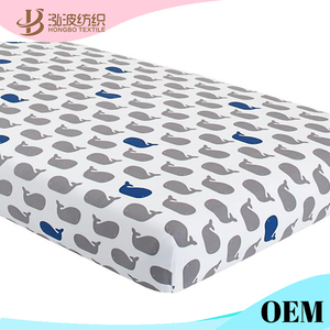 Waterproof Organic 100 Cotton Jersey Patterned Fitted Baby Crib Sheet