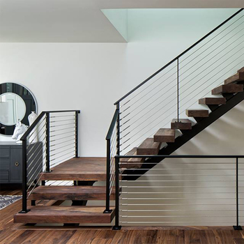 Single Beam Wood Tread Straight Stair Staircase With Stainless Steel Cable  Railing