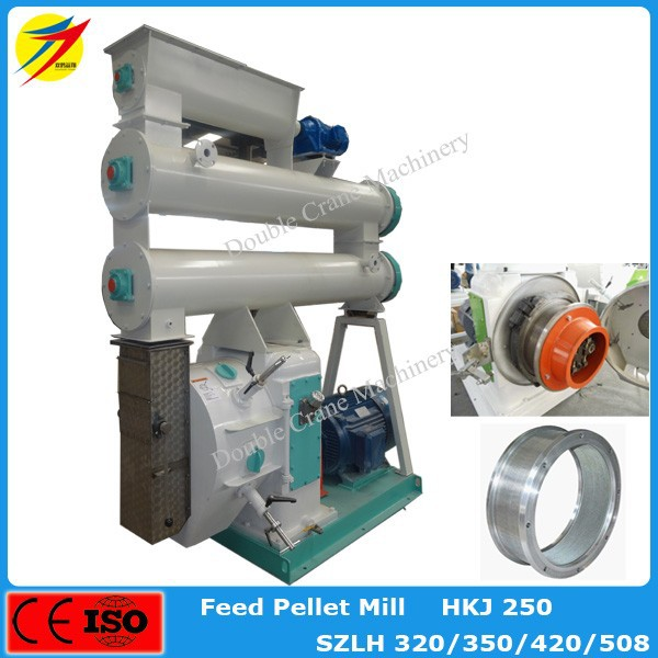 SZLH508 Livestock Feed Pellet Mill Machine With Stainless Steel Feeder