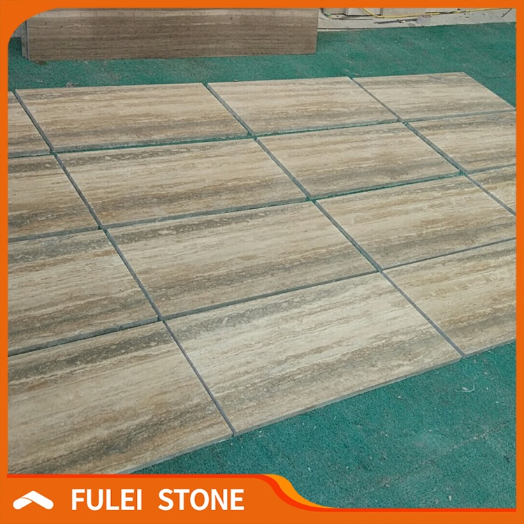 Honed Italian Silver Wood Grain Grey Travertine Marble Stone Floor
