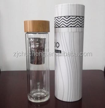 thermos bamboo top screws on tight double wall insulated glass bottle 304 stainless steel loose - Glass Thermos