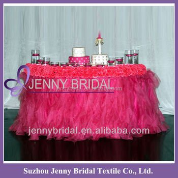 TC012A Hot Pink Curly Willow Ruffled Fancy Wedding Table Cloths