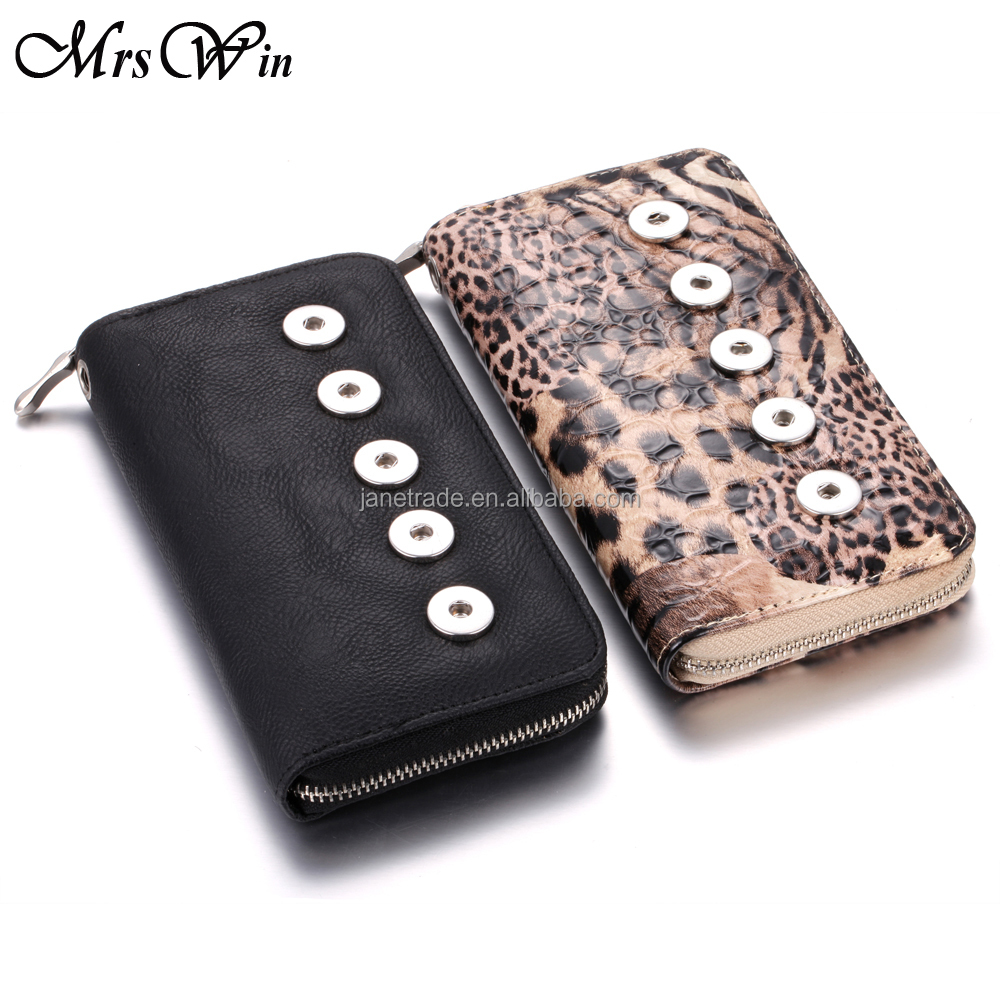 Women Bag jewelry Gray Leopard Print Snap Purse Pu leather Bag 5 Buttons Wallet Hold