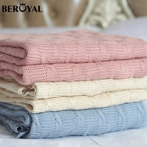 Beroyal No MOQ Breathable Carding Cotton Baby Knitted Blanket