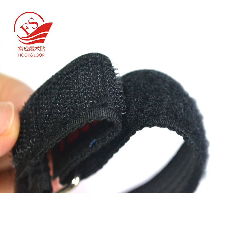 Logo embroidery rubber Non slipping battery strap with hook and loop fastener