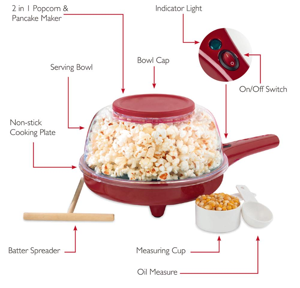 2 in 1 pancake maker mini popcorn maker