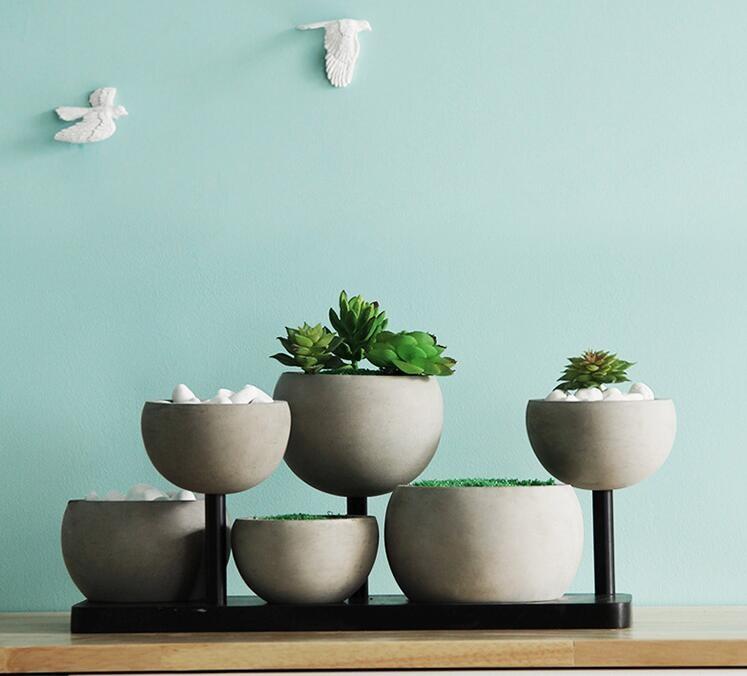 Fashion Style Concrete Vase Garden Concrete Plant Pots