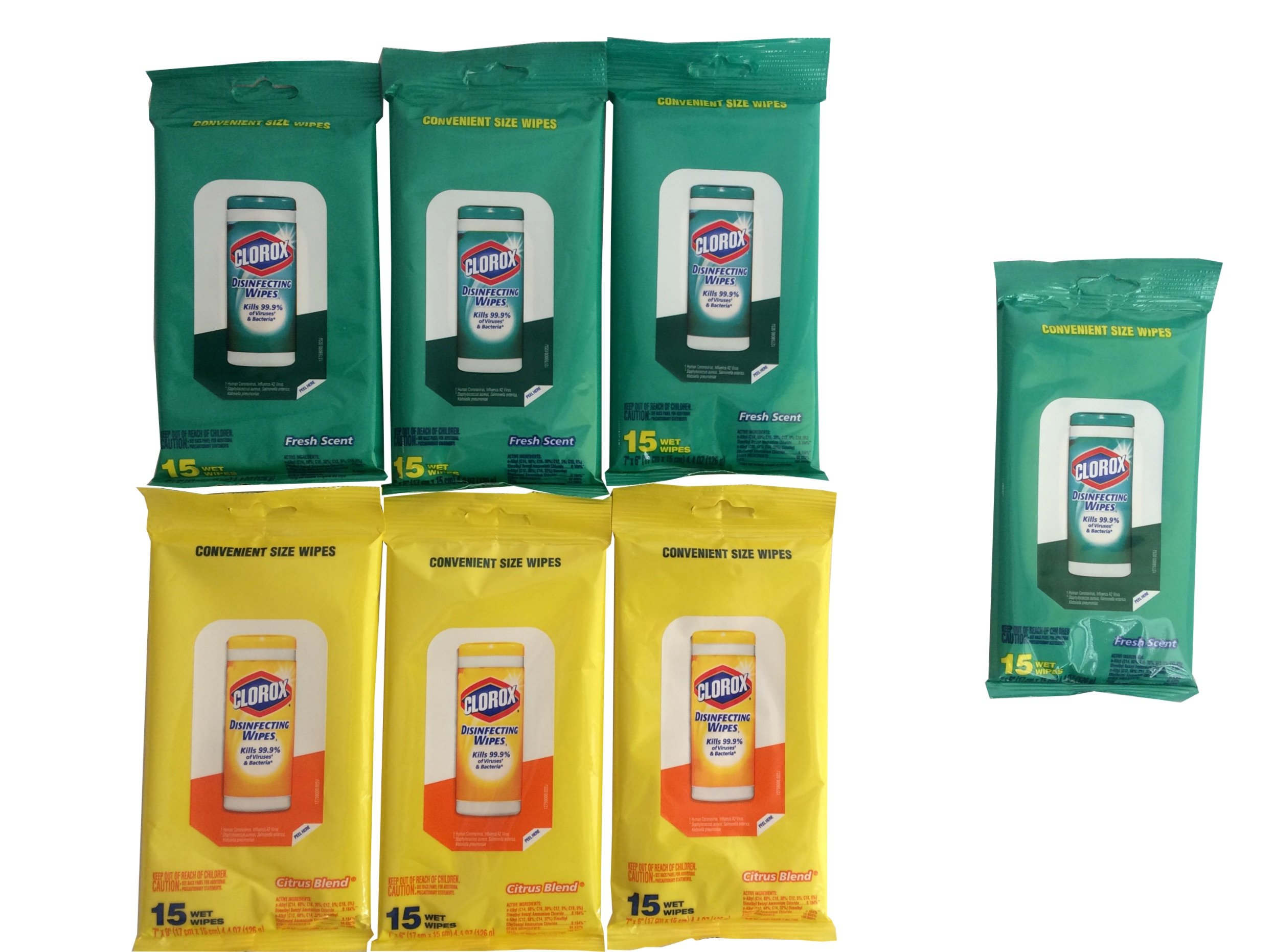 Clorox Disinfecting Wipes (7 Packs) Travel Size, 4 Fresh Scent Packages & 3 Citrus Scent Packages (105 Wipes Total) Value Pack To Go Bundle