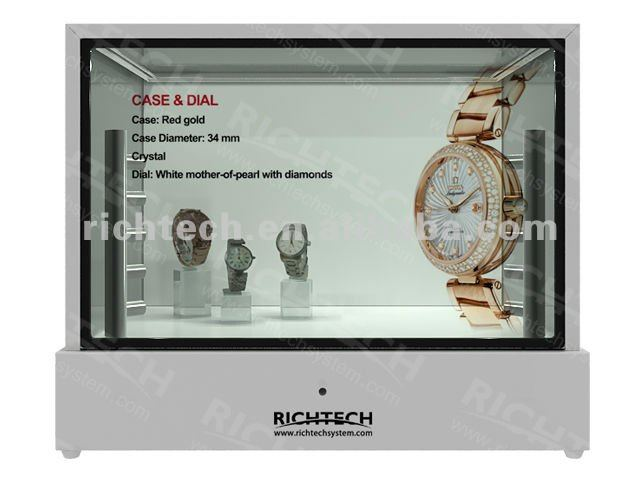 22'' transparent cabinet showcase, high heel, diamond ring, watch and more