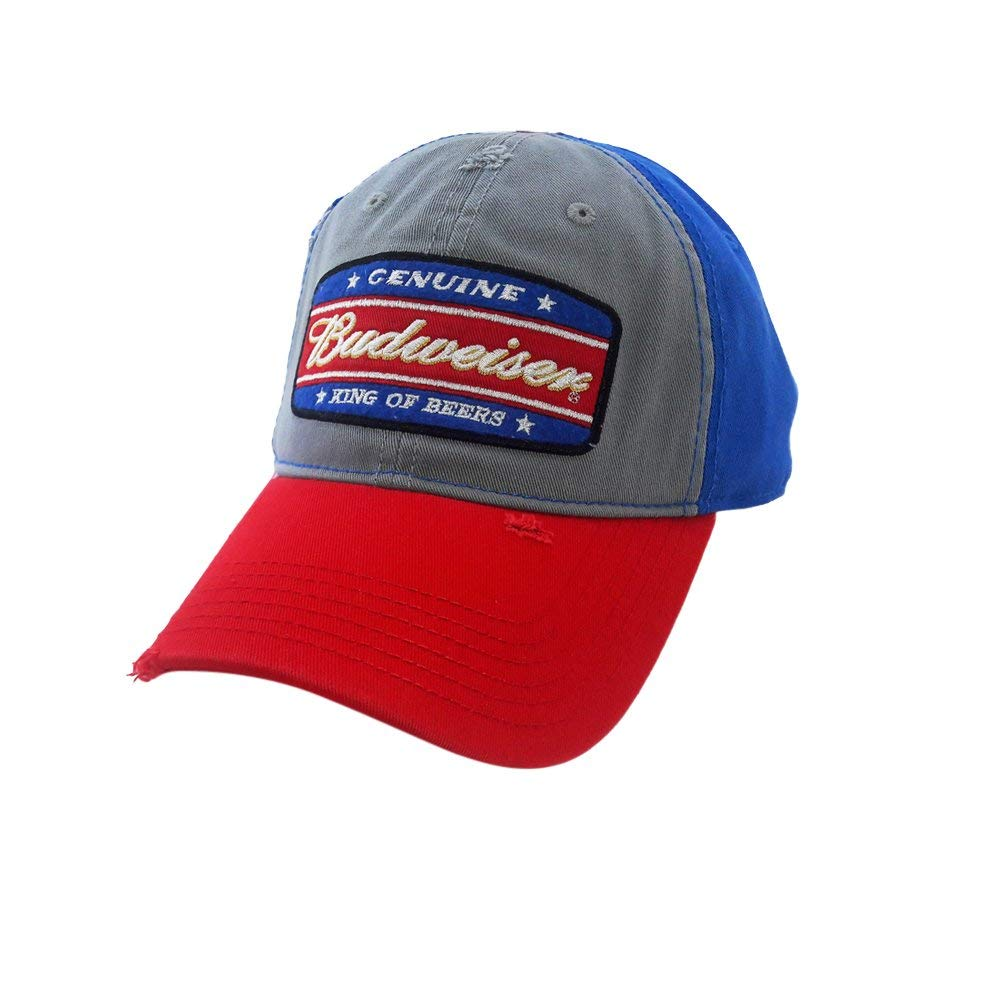 2dcc9b85764 Genuine Budweiser King of Beers Snapback Hat Cap Alcohol Lager Distressed  Blue