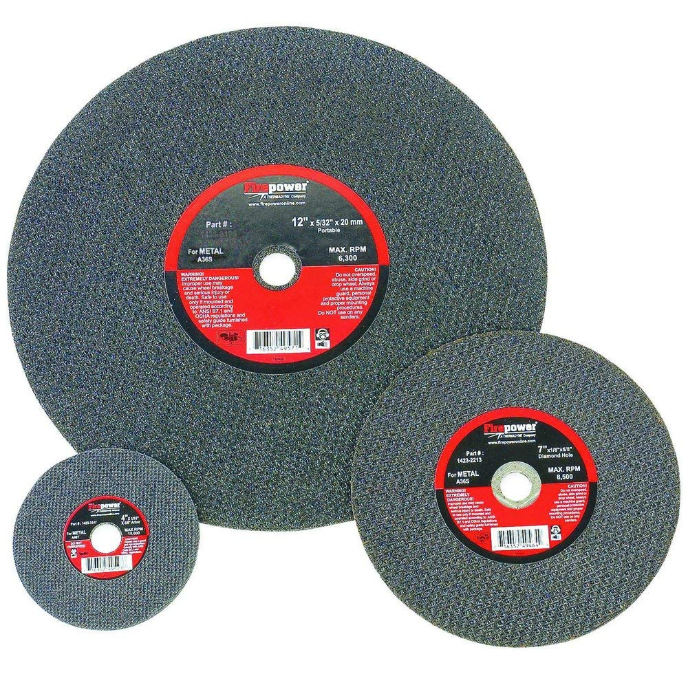 Firepower 1423-3185 Type 1 Abrasive Cut-Off Wheel for Metal, 4-1/2-Inch Diameter, 1/8-Inch Width with 7/8-Inch Hole