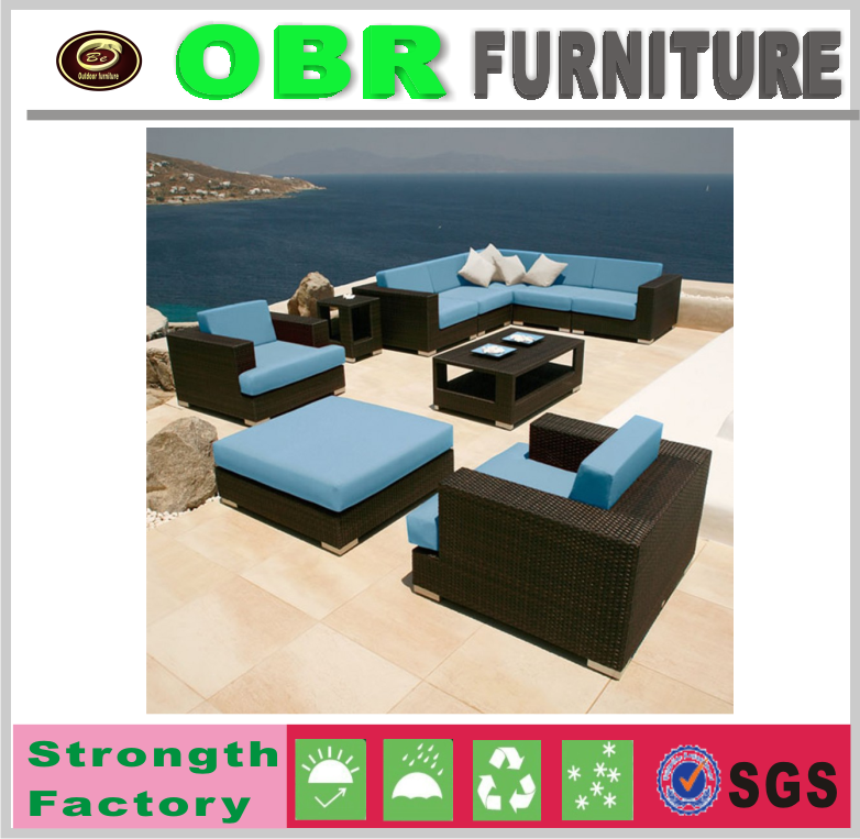 2017 modern designs contemporary garden furniture outdoor king size 7 seater black beach sofa set