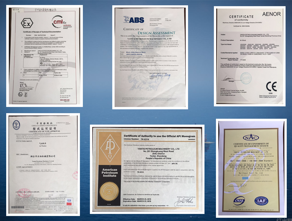air winches and air hoists manufacturer certifications