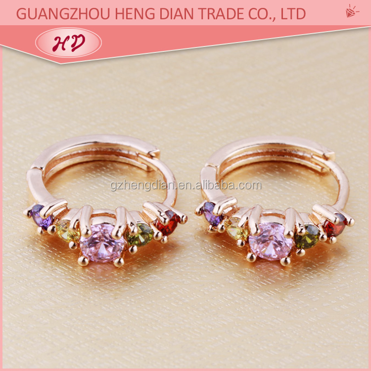 2017 Small 18k Rose Gold Plated Hoop Ring Type Earrings With Zircon