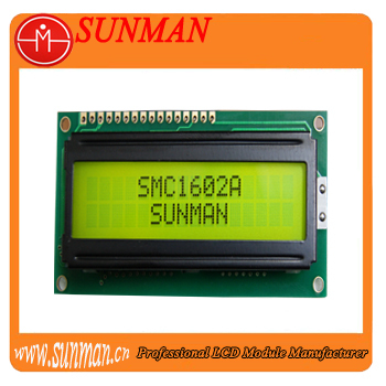 16x2 alphanumeric lcd module with Yellow-Green backlight