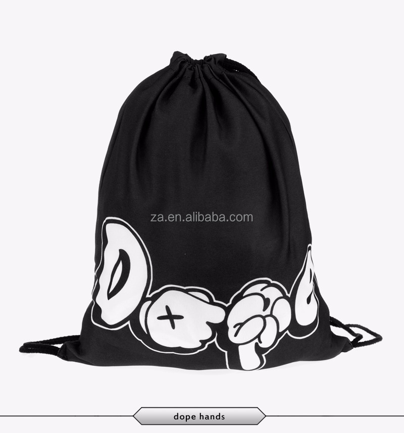 high quality low price new design plastic black drawstring backpack
