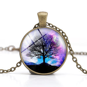 Hot Sale Mandala Time Gemstone Life Tree Charm Antique Gem Round Glass Cabochon Necklace For Ladies