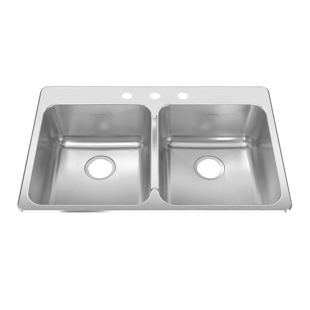 American Standard 15DB.332283.073 Prevoir 33.38-Inch Stainless Steel 3-Hole Topmount Double Bowl Kitchen Sink, Radiant Silk