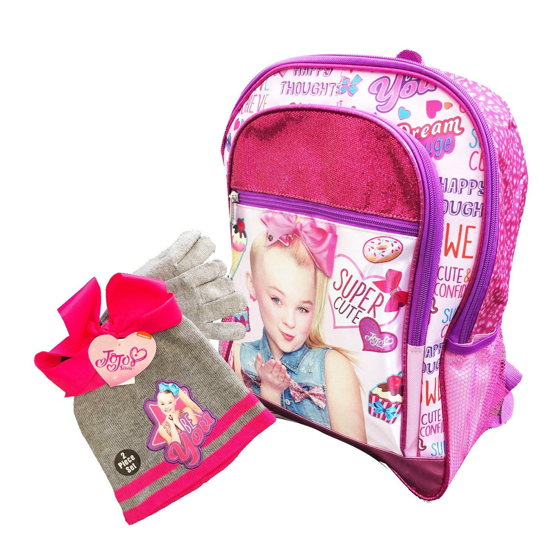 """16"""" Jojo Siwa Super Cute Shinning Pink Backpack w/ Beanie/Knit Hat & Glove Set"""