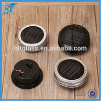 Glass mason lid with LED light ,bottle lid with Solar battery
