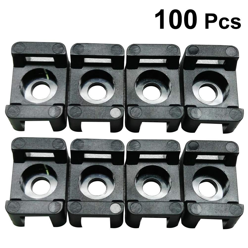 100PCS Cable Tie Base Mount Screw Fix Seat Saddle Type Wire Clip Holder Network