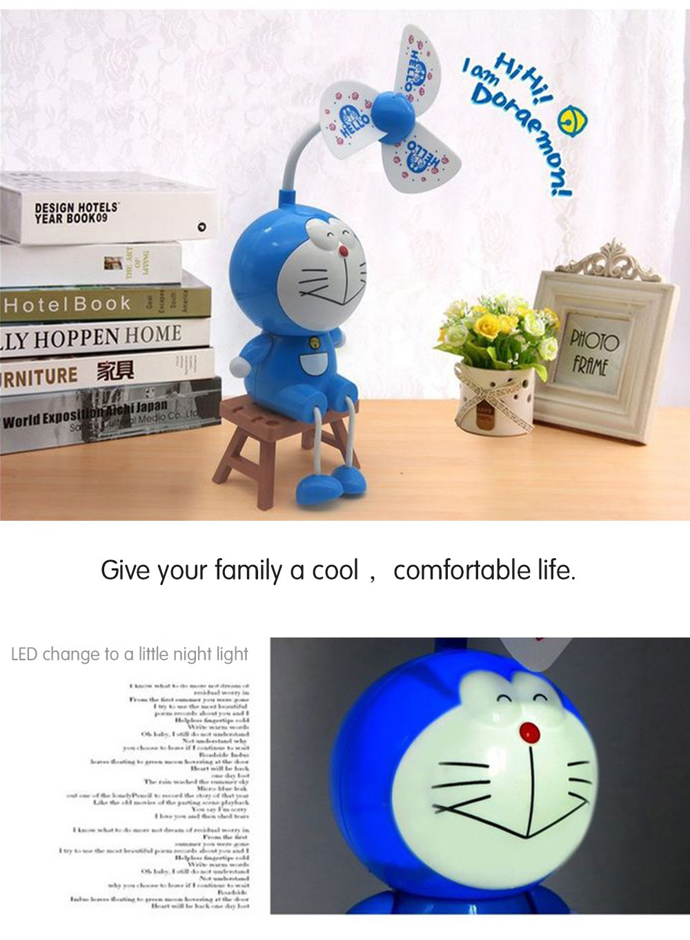 toy Baby portable fan with light Doraemon student fan