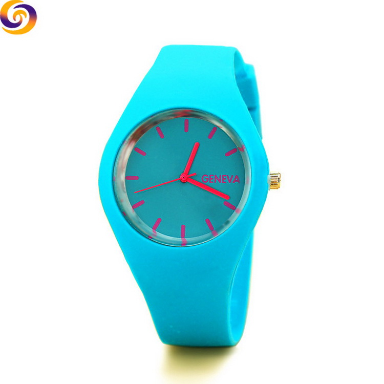 Wholesale Jelly colorful cheap geneva sport silicone wristband watch