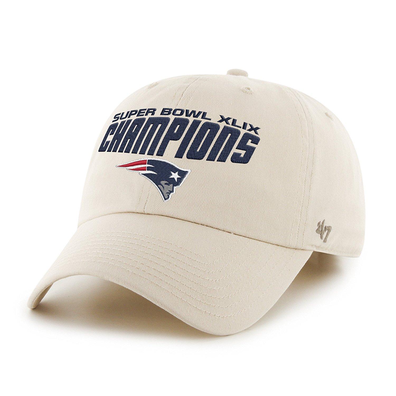Get Quotations · New England Patriots 47 Brand Natural Super Bowl XLIX  Champs Clean Up Hat Cap 45ed0de54