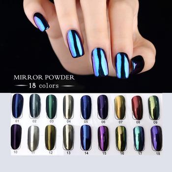 Chrome Mirror Powder Rainbow Pigment Holographic Aurora Nails
