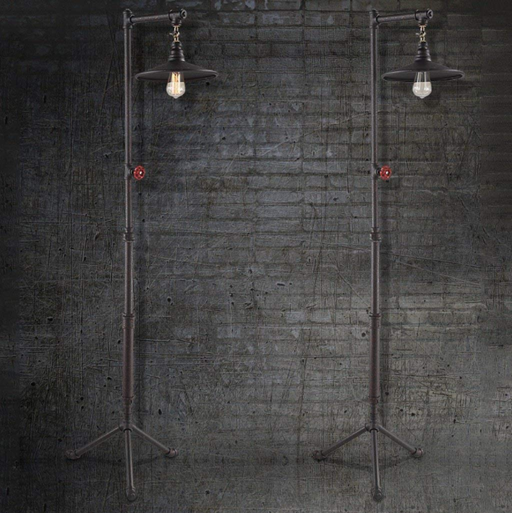 CWJ Floor Lamp-Led American Floor Lamp, Retro Floor Lamp, Industrial Iron Floor Lamp, Nordic Living Room Study Vertical Lighting, Creative Water Pipe Floor Lamp Eye Protection Vertical Table Lamp