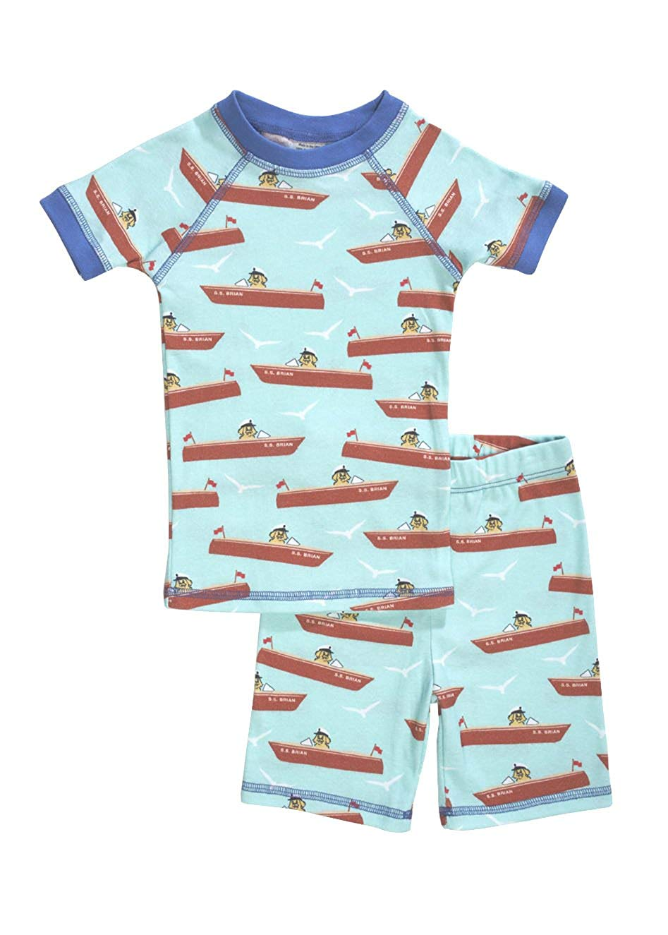 Brian the Pekingese Boys 100% Organic Cotton Short Sleeve & Shorts Pajamas