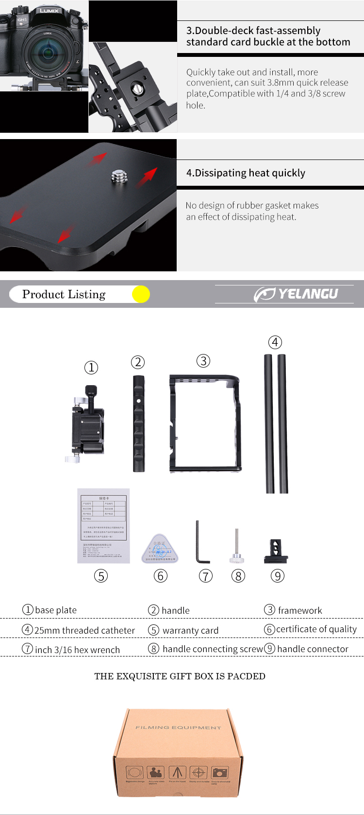 YELANGU Aviation Aluminum Alloy Camera Cage for GH4,GH5 Camera