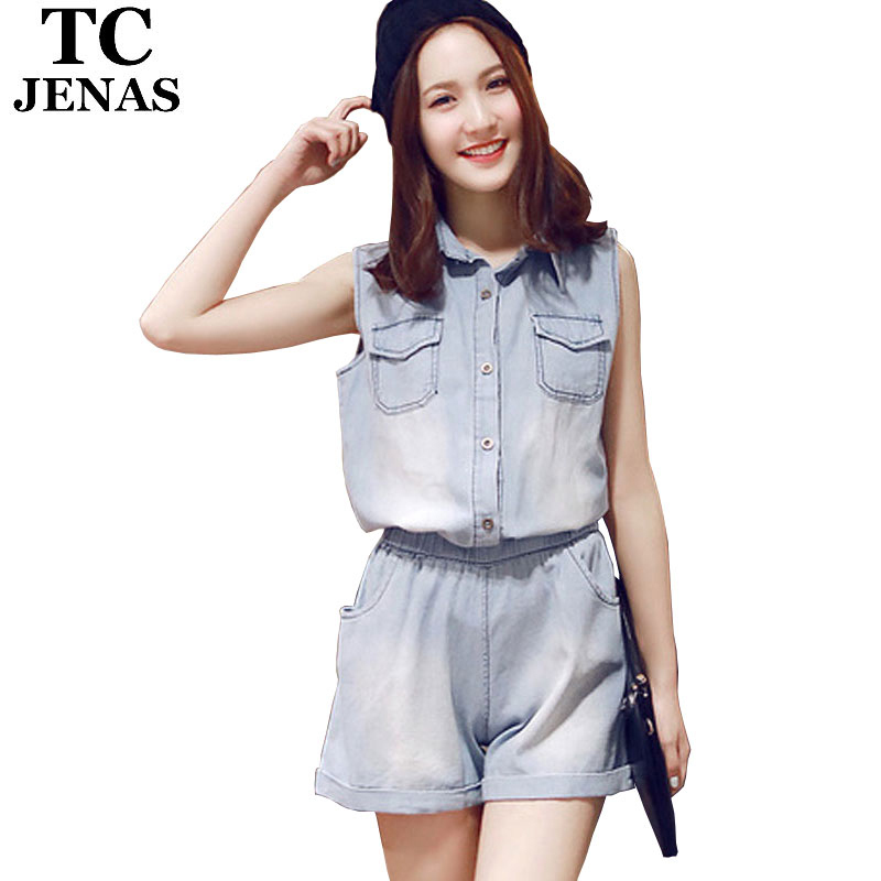 facd8939f9b8 Get Quotations · TC Women Jeans Short Jumpsuit 2015 Summer Casual  Sleeveless Washed Bleached Cuffs Slim Denim Hot Overall