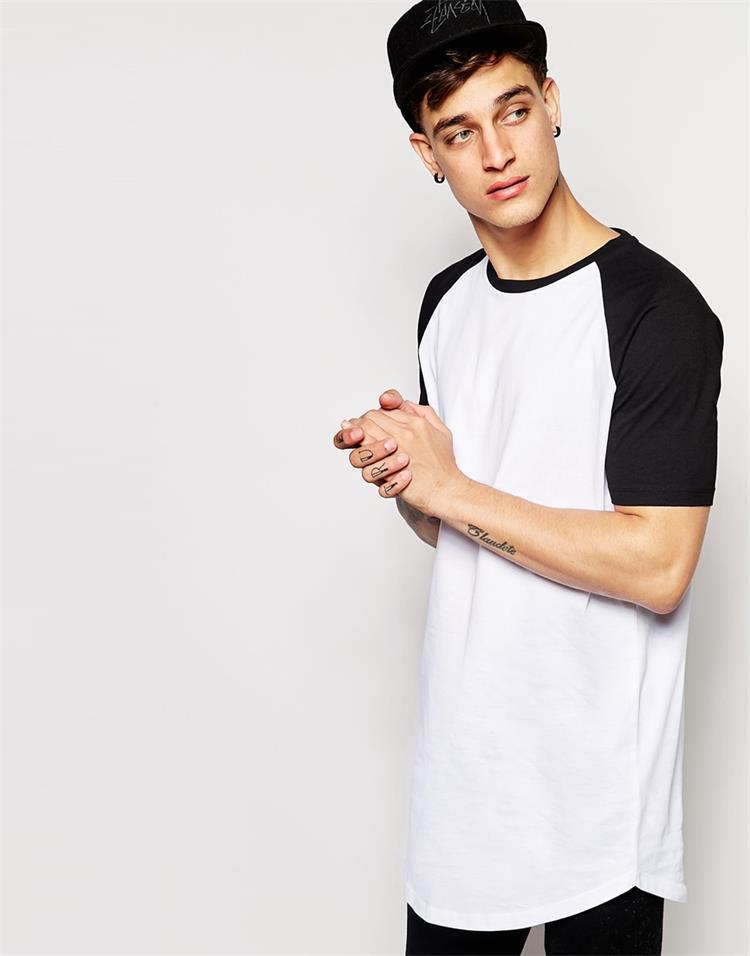 2015 Mens Longline T Shirt 100% Cotton Contrast Raglan Short ...