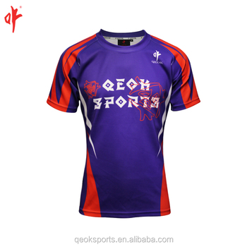 Navy Blue   Red Rugby jersey custom made sublimation rugby football shirt 914beab1a