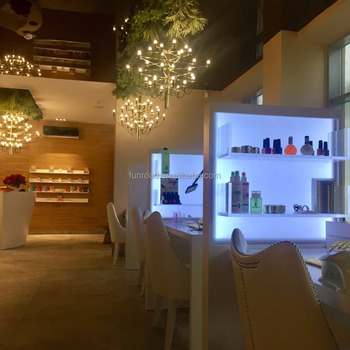 Nail Beauty Salon Design White Wooden Manicure Table And Reception Desk