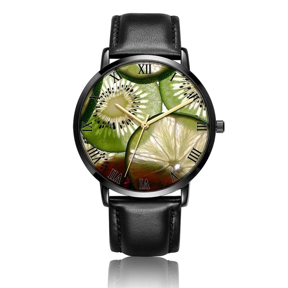 Cwdron Customized Wrist Watch, lemon Pattern Design Analog Quartz Wrist Watch For Women and Men, Durable and Personalized PU Leather Wrist Watch