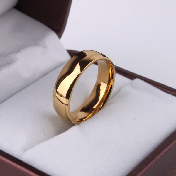 Never fading Classic 6mm version 18K gold plated rings 316L Stainless Steel men women <strong>jewelry</strong>